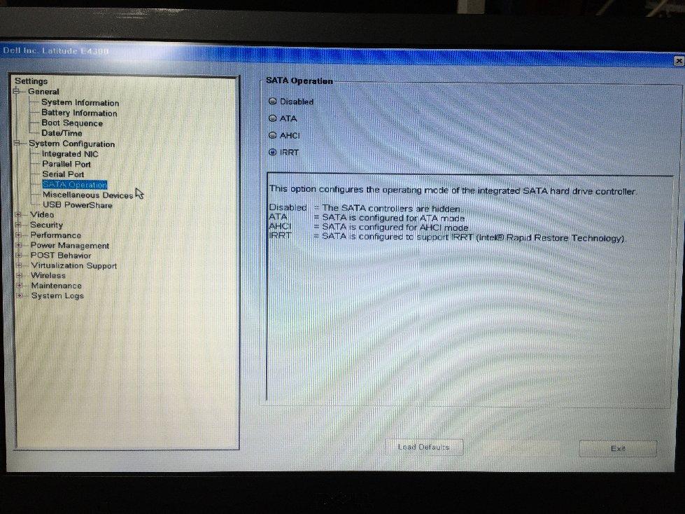Dell E4300 Default BIOS 設定